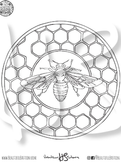 Honeybee 8.5x11 Coloring Page
