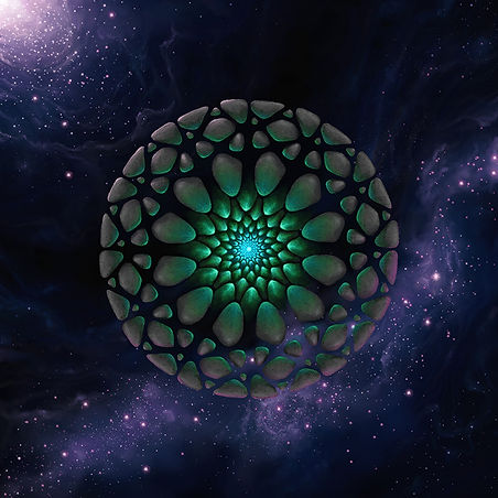 geometric shapes in concentric circles with glowing center floating in a nebula
