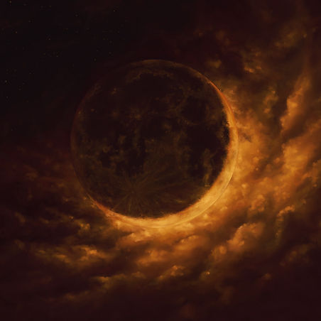 dark orange glowing sliver of crescent moon in front of the clouds
