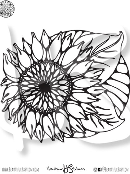 Sunflower 8.5x11 Coloring Page
