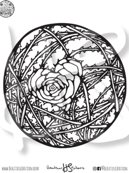 Rose Heart 8.5x11 Coloring Page