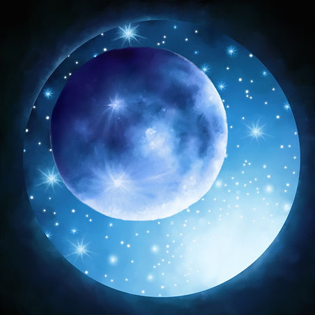 glowing sparkling blue moon