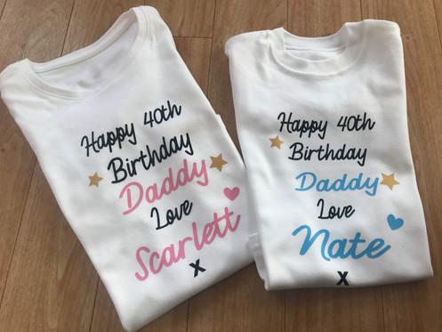 Happy Birthday Daddy White T Shirt