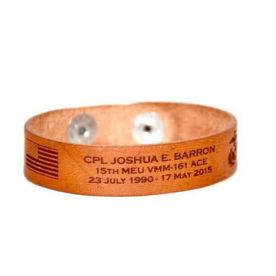 Leather Memorial Bracelet / Honor the Fallen / POW / Military Bracelet / KIA Bra