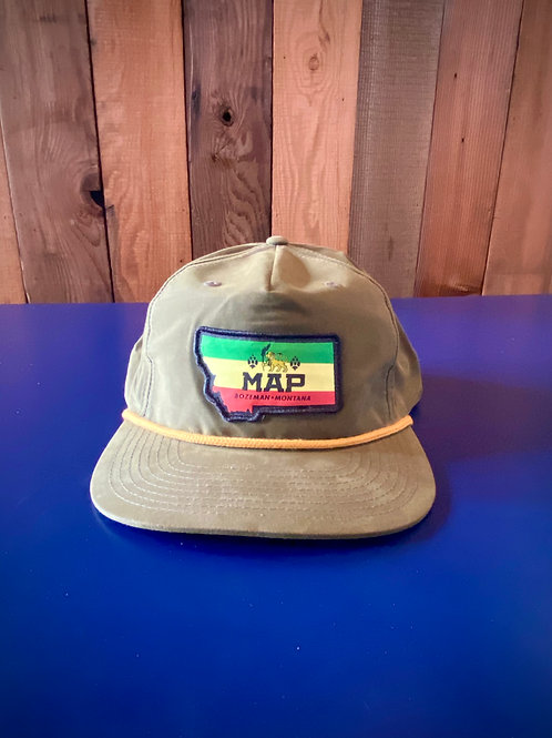 MAP Flatbill hat with SPF - Loden Rasta