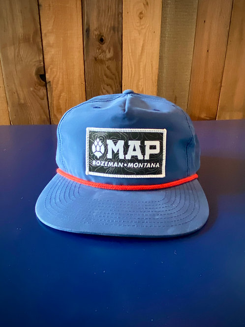 MAP Flatbill hat with SPF - Blue - Topo