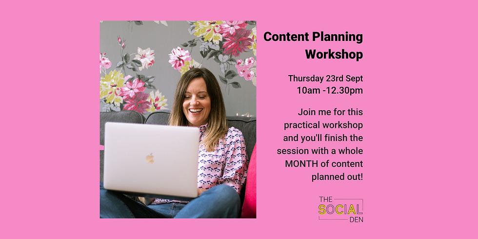 Content Planning Workshop Sept 23rd