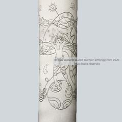 © IGG 2021 Maquette pour les Emaux de Longwy. Vase Colonne 1/2. Collection L'Homme-Lune