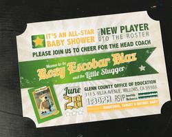 Slugger Baby Shower Invitation