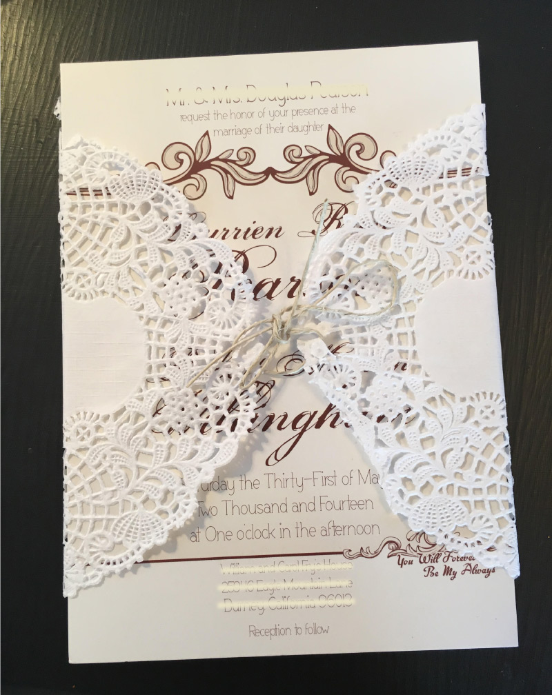 Country Lace Detail Invitation
