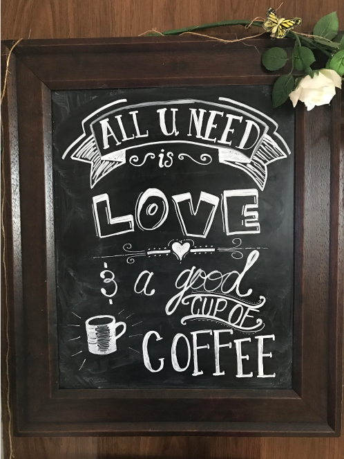 Hand Lettered Love Coffee Sign