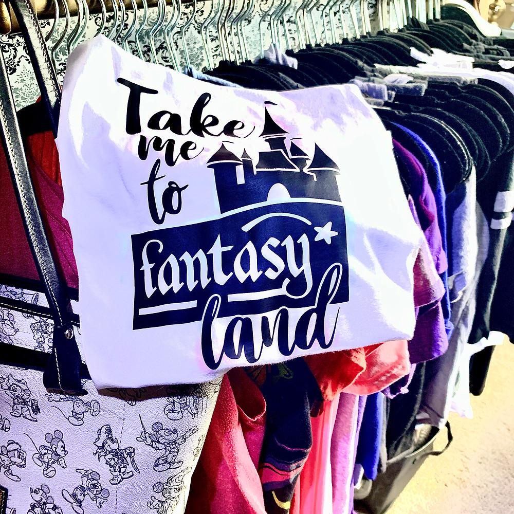 """graphic tee that reads """"take me to fantasyland"""""""