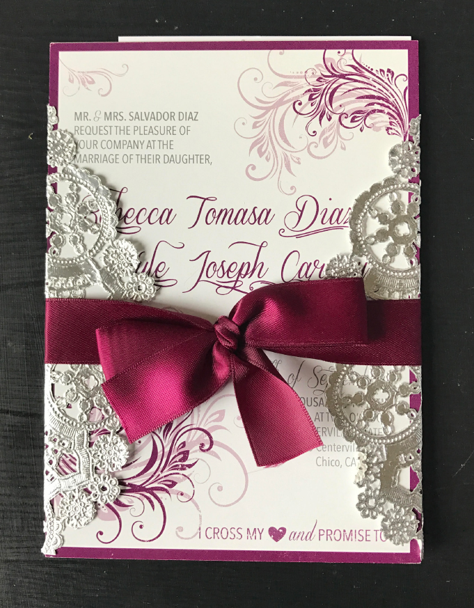 Ribbon Wrapped Wedding Invite