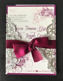 Ribbon Wrapped Wedding Invite