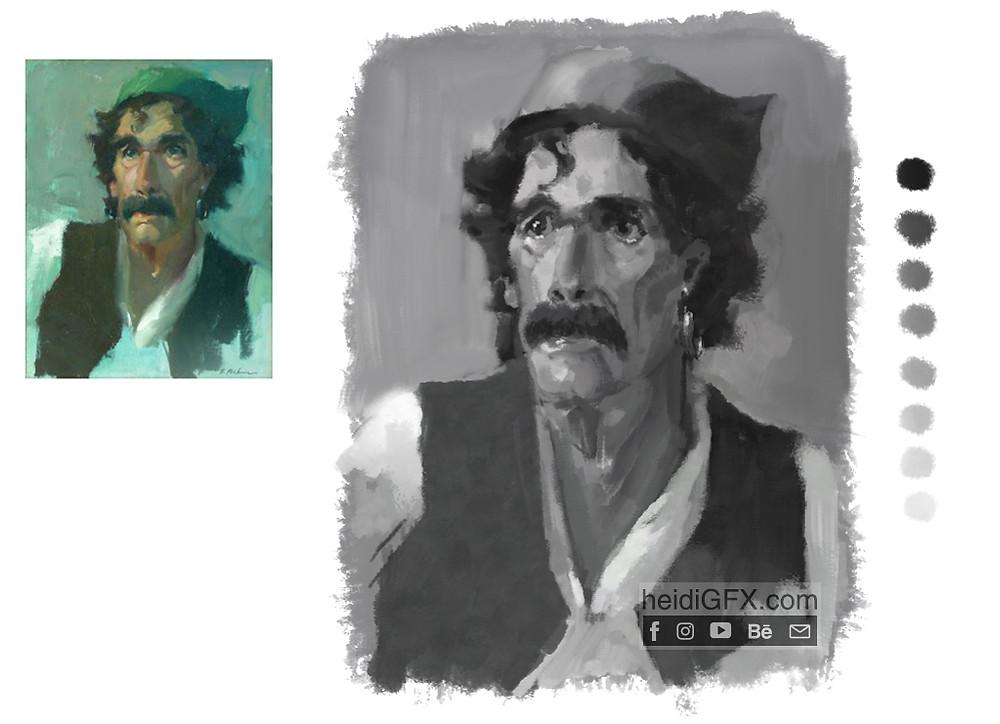 digital painting greyscale man