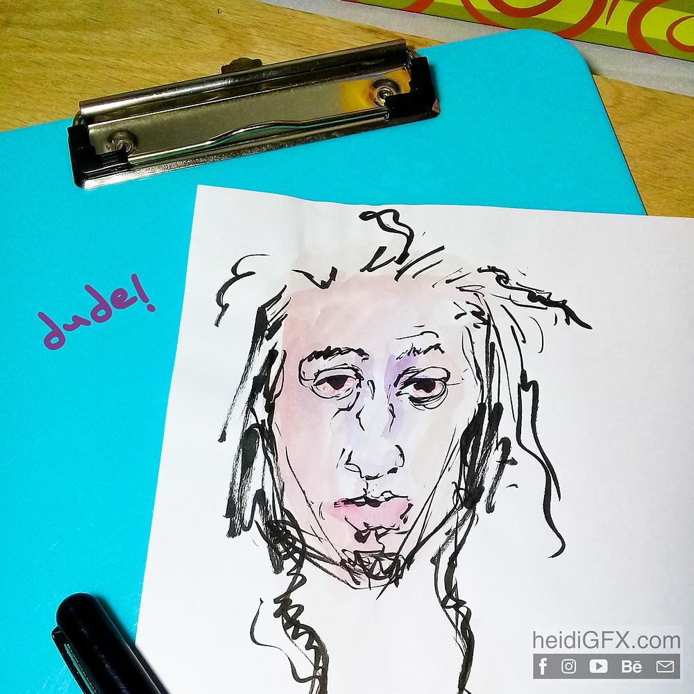 Pentil Brush Pen Drawing Practice - Face