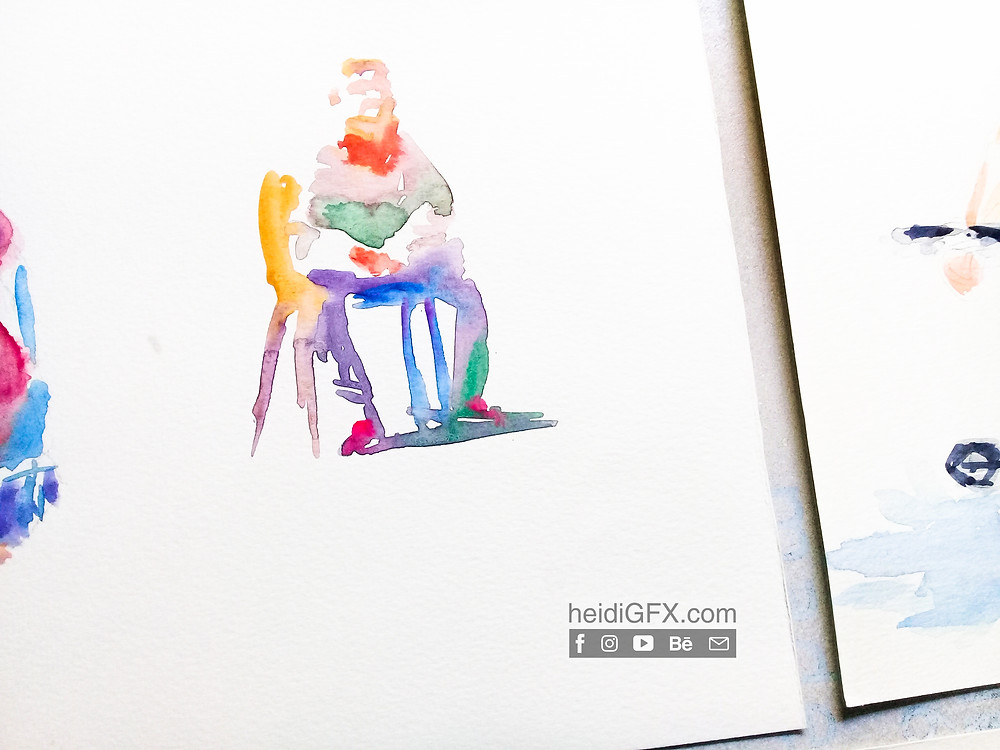 water color painting seated figure