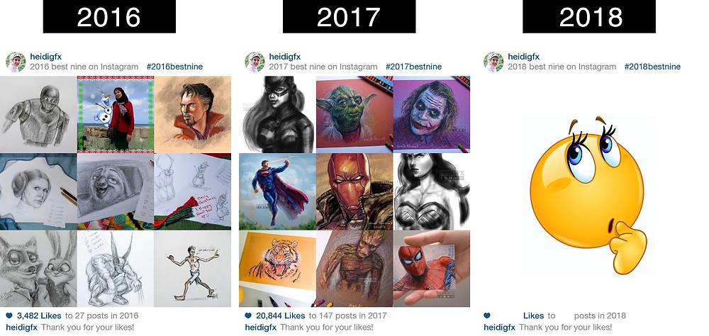 instagram best nine 2016 and 2017