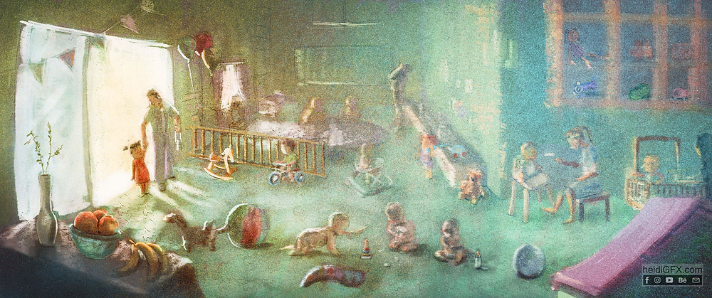 First Day at Day Care: Fear and Curiousity digital Illustration by heidiGFX