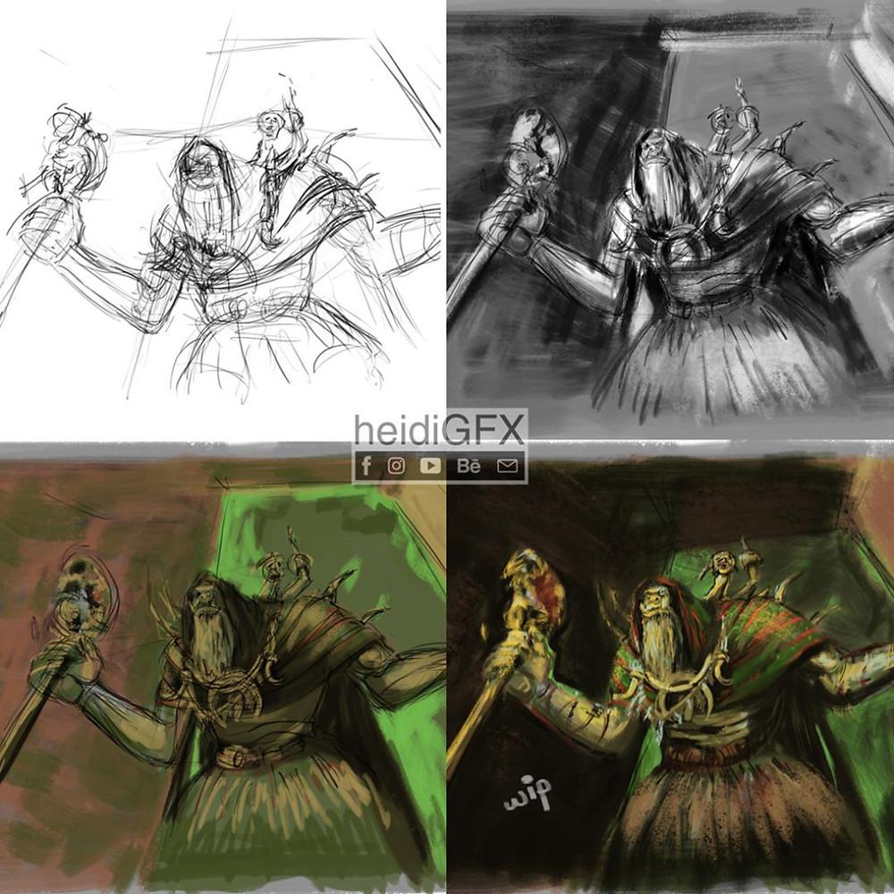 Gul Dan Digital Illustration, Fan Art, World Of Warcraft, work in progress