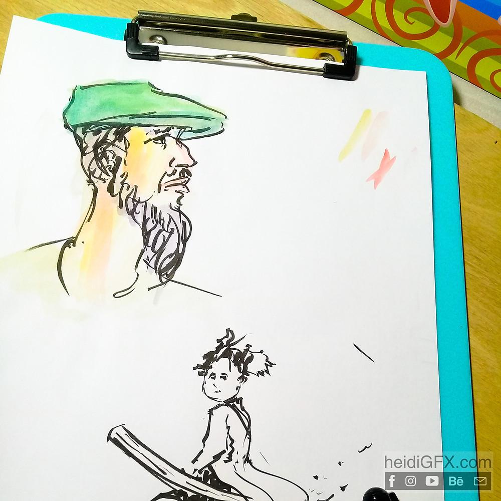 Pentil Brush Pen Drawing Practice