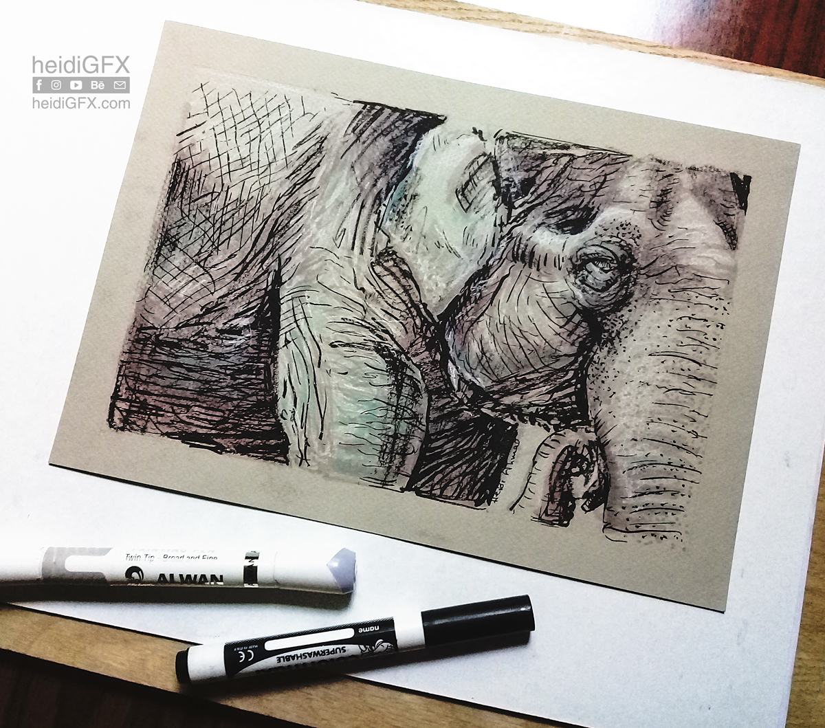 Traditional drawing of an elephant