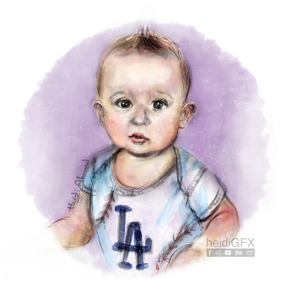 digital portrait of a baby
