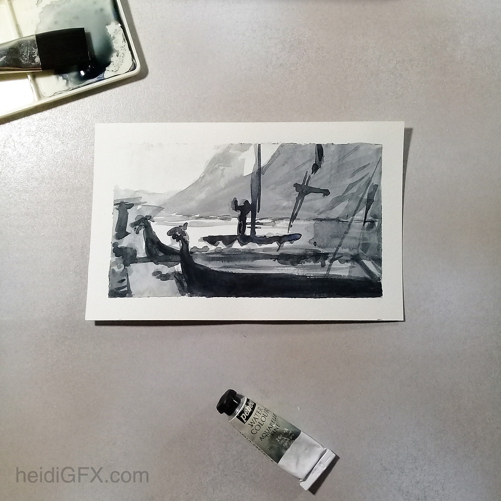 value study in watercolors based on the series Vikings
