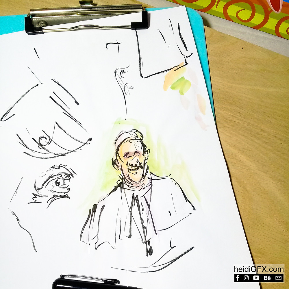 Pentil Brush Pen Drawing of the Pope