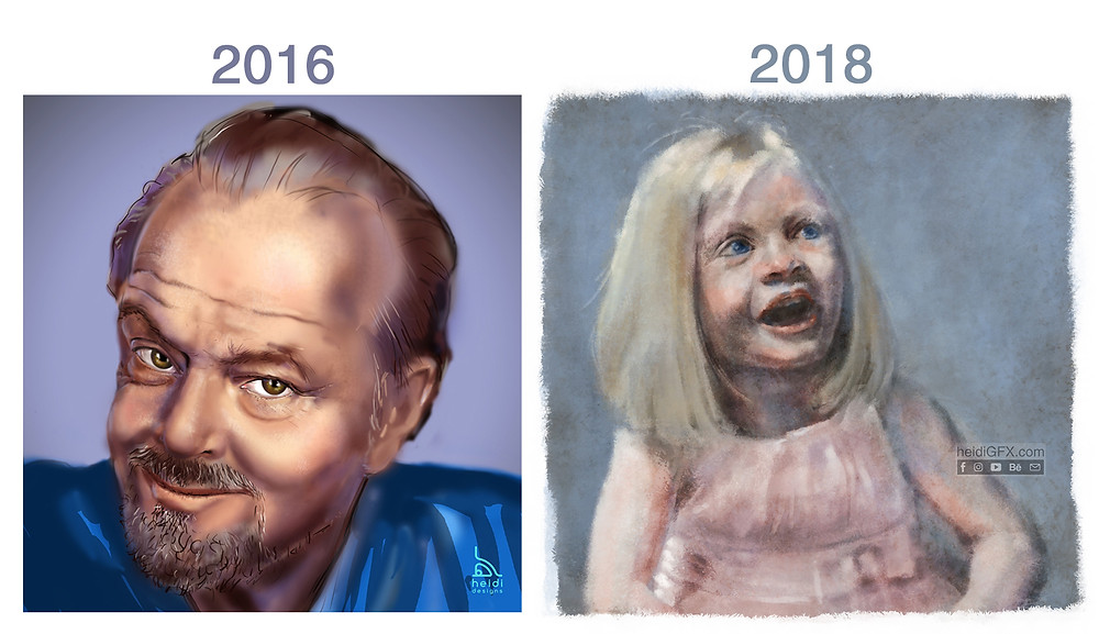 digital portrait progress in 2 year