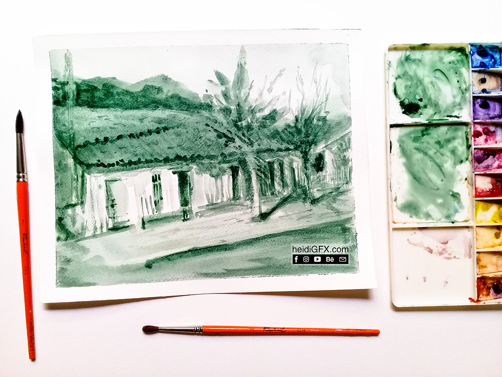 water color painting monochromatic green