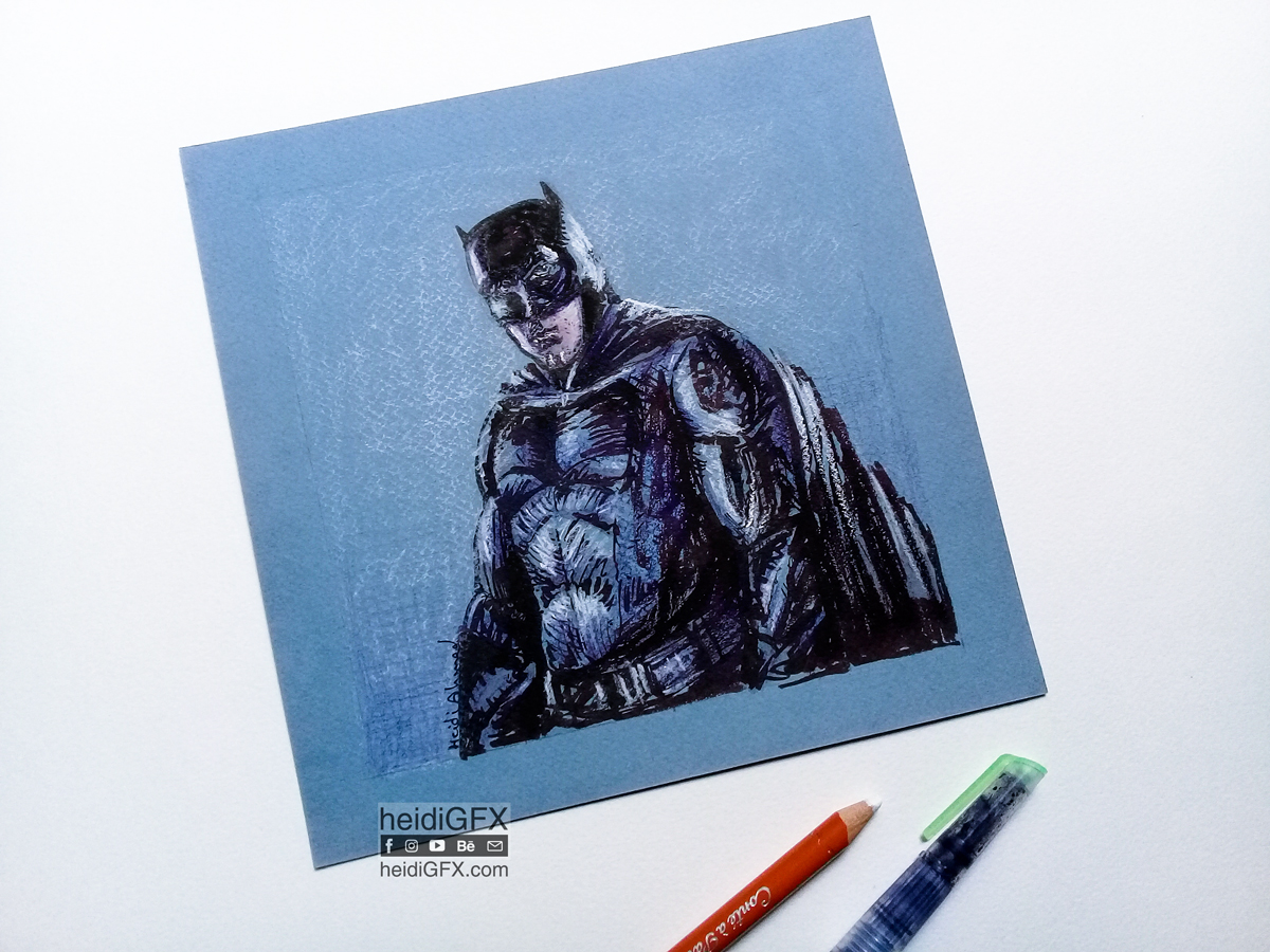 Traditional drawing of Batman