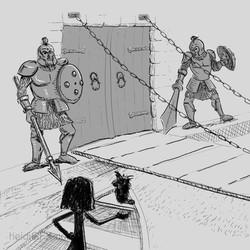 Inktober Day 13 Guarded - Storyboarding