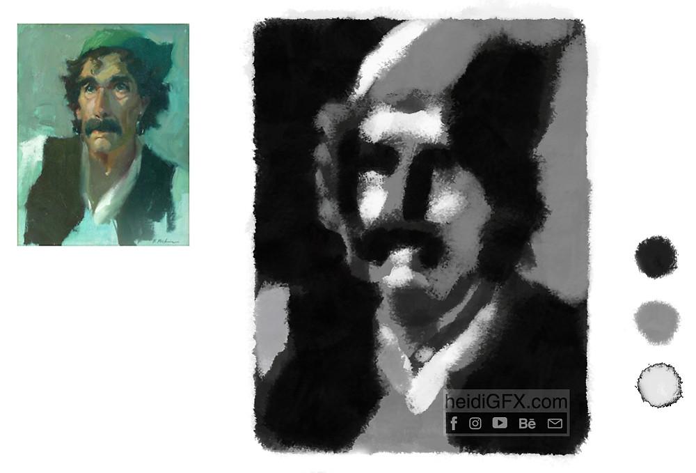 digital painting black and white matrix man