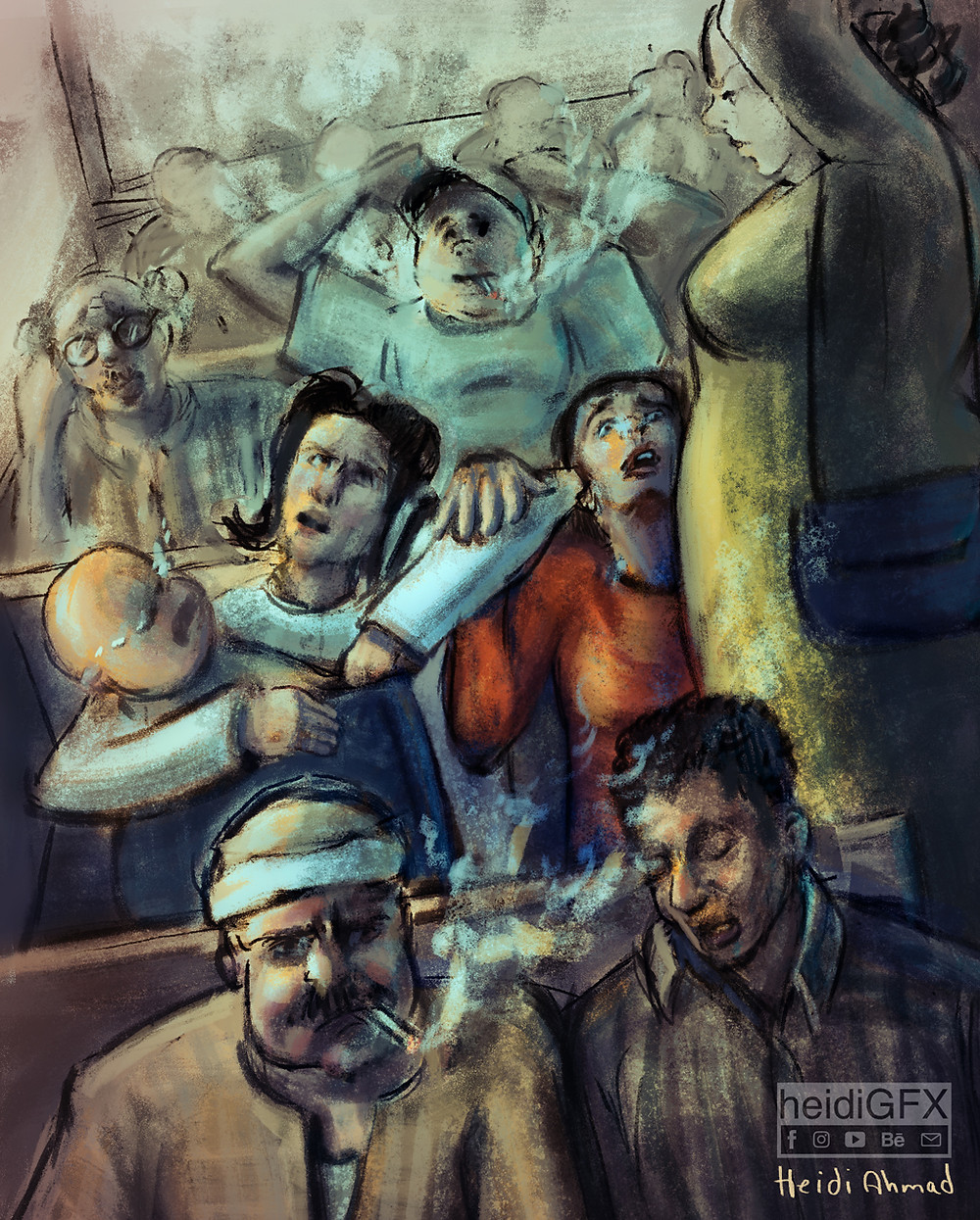 Public Transporation digital painting art illustration color