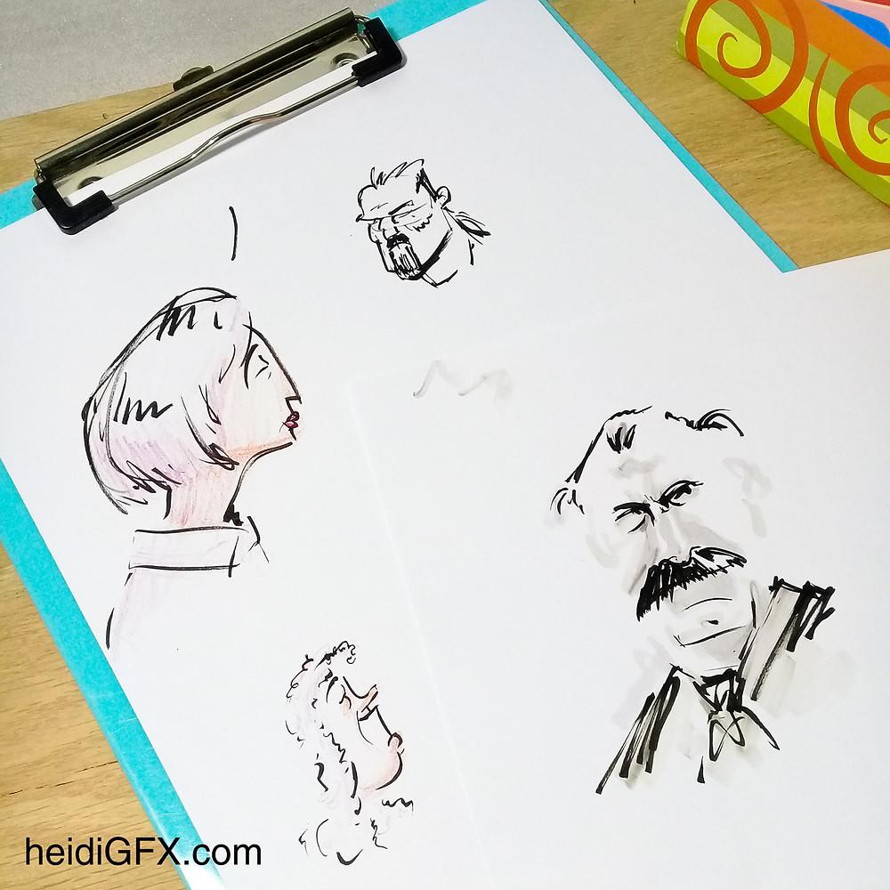 Pentil Brush Pen Drawing Practice - Faces
