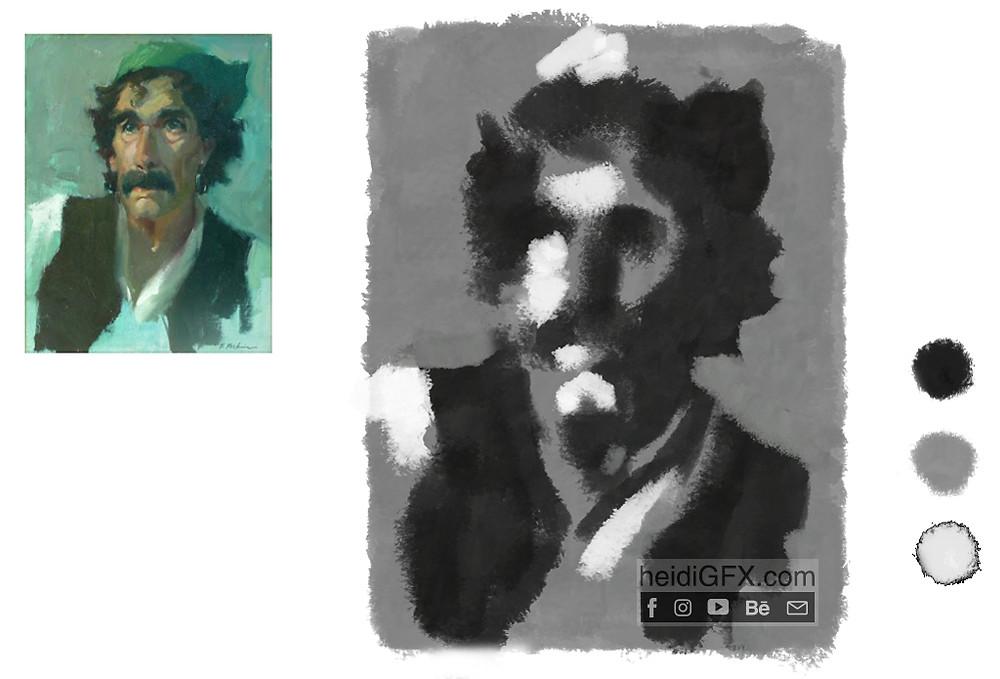 black and white matrix digital painting man