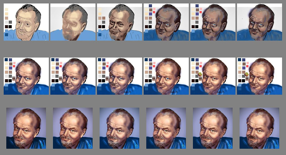 Jack Nicholson Digital Painting Portrait Process Images