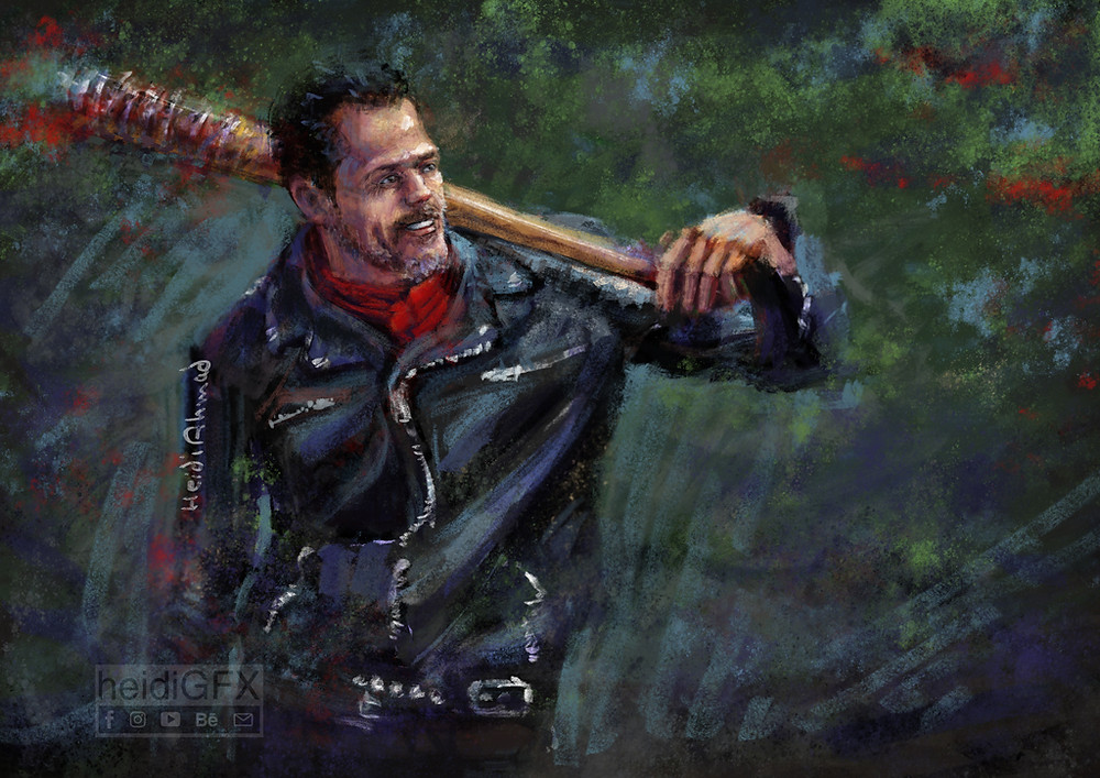 digital portrait of Negan from The Walking Dead