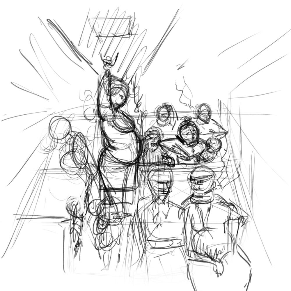 concept illustration digital painting art rough sketch thumbnail