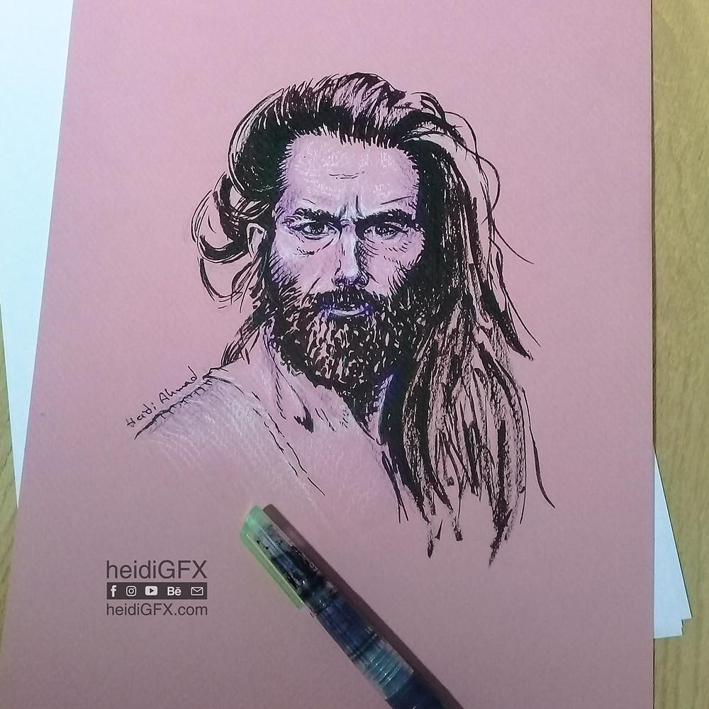 Inktober 2017 Day 5 - Long ( hair and beard )