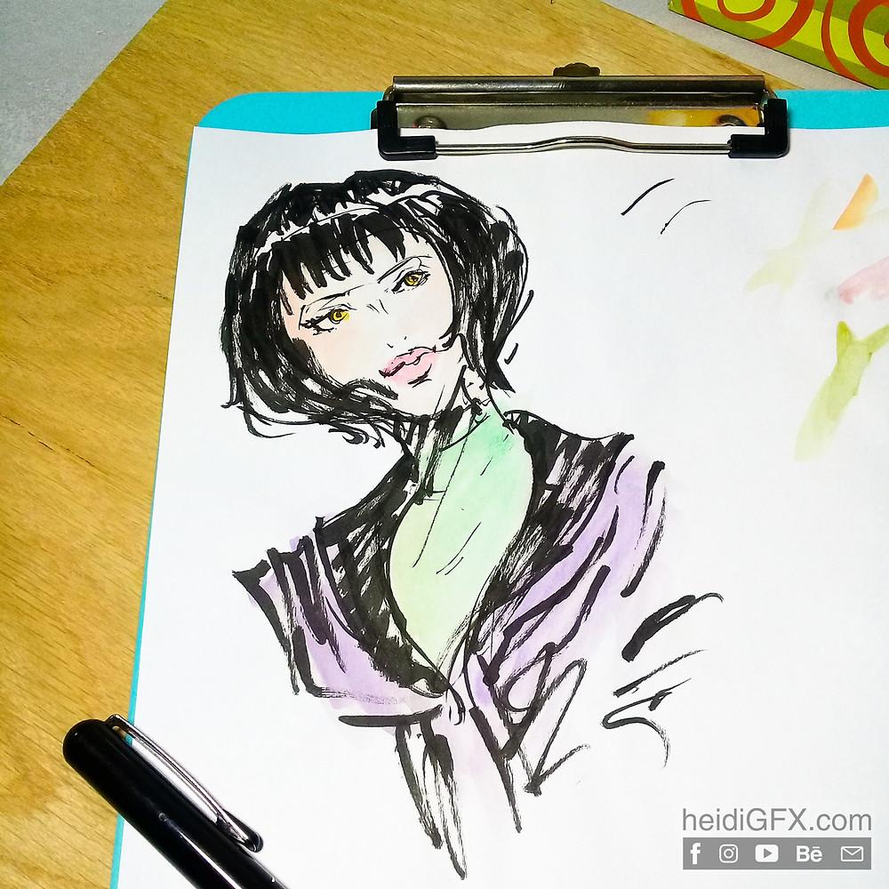 Pentil Brush Pen Drawing Practice - Woman