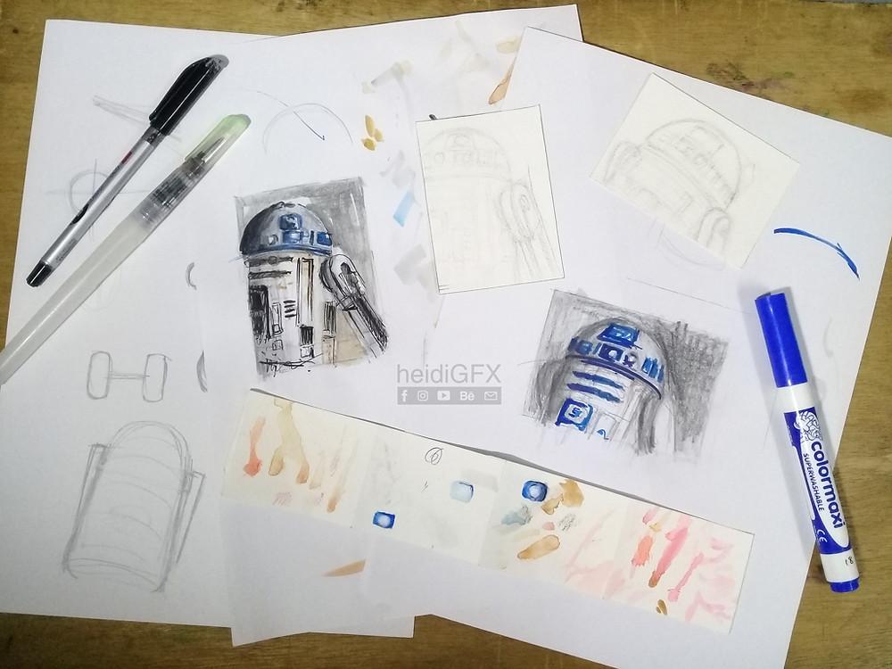 R2D2 sketch card explore art