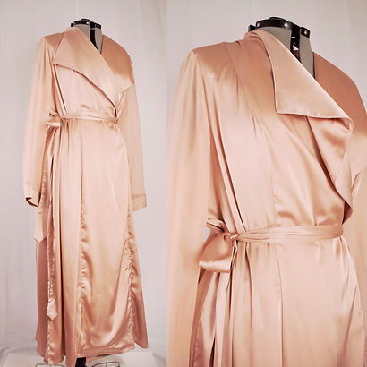 women's full length double breasted rose satin robe transparent sleeves size xxl