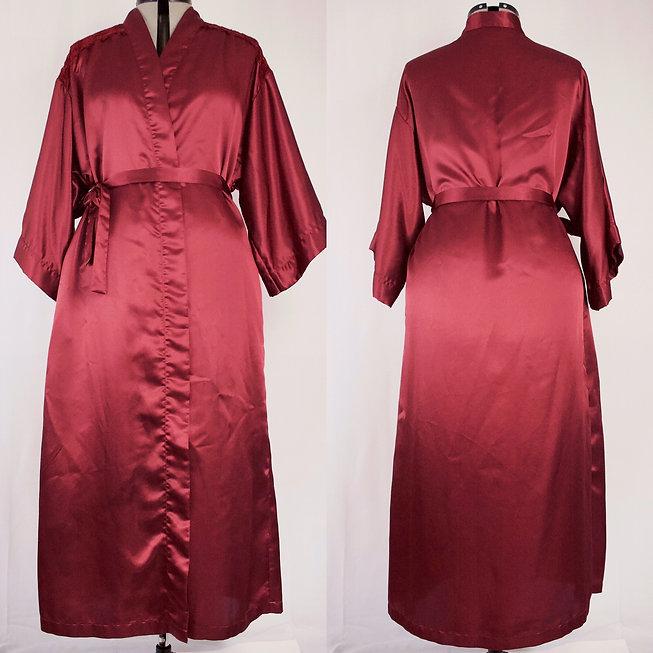 women's full length burgundy satin kimono robe