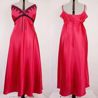 women's full length fuchsia sleeveless nightgown sexy xxl nightgown open back triangle bust