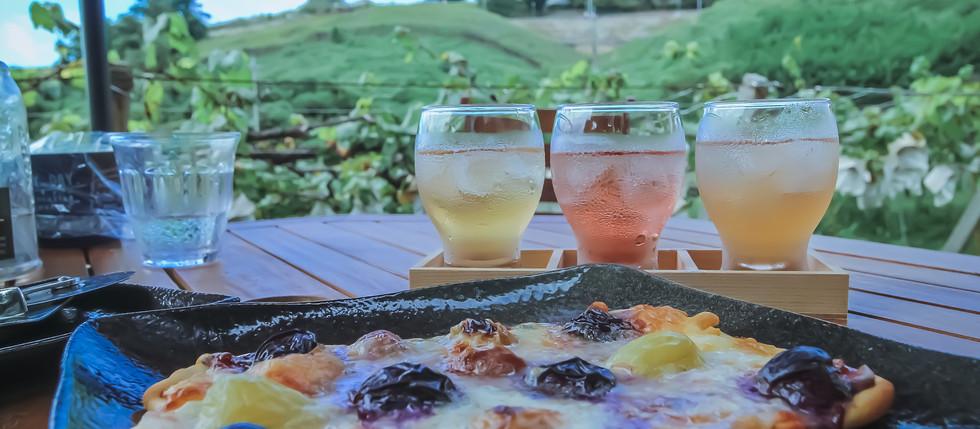 葡萄畑を眺めながら葡萄を飲み食いしている