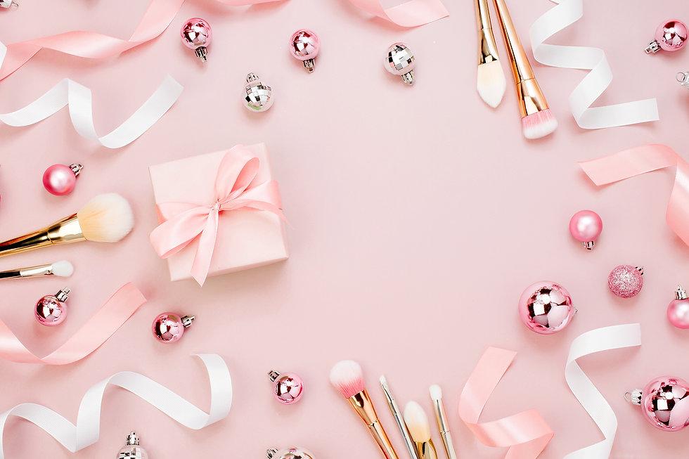 Frame with Christmas ball, gift, ribbon,