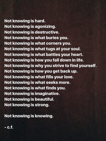 Not Knowing is Knowing