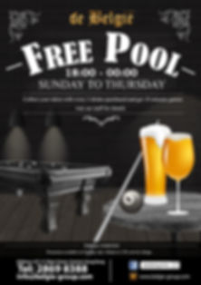 Enjoy FREE pool game if purchase 2 drinks at de België on Tuesday!